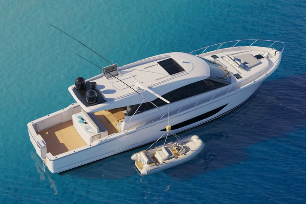 new Maritimo S600 Offshore Sedan Motor Yacht anchored and pictured from above