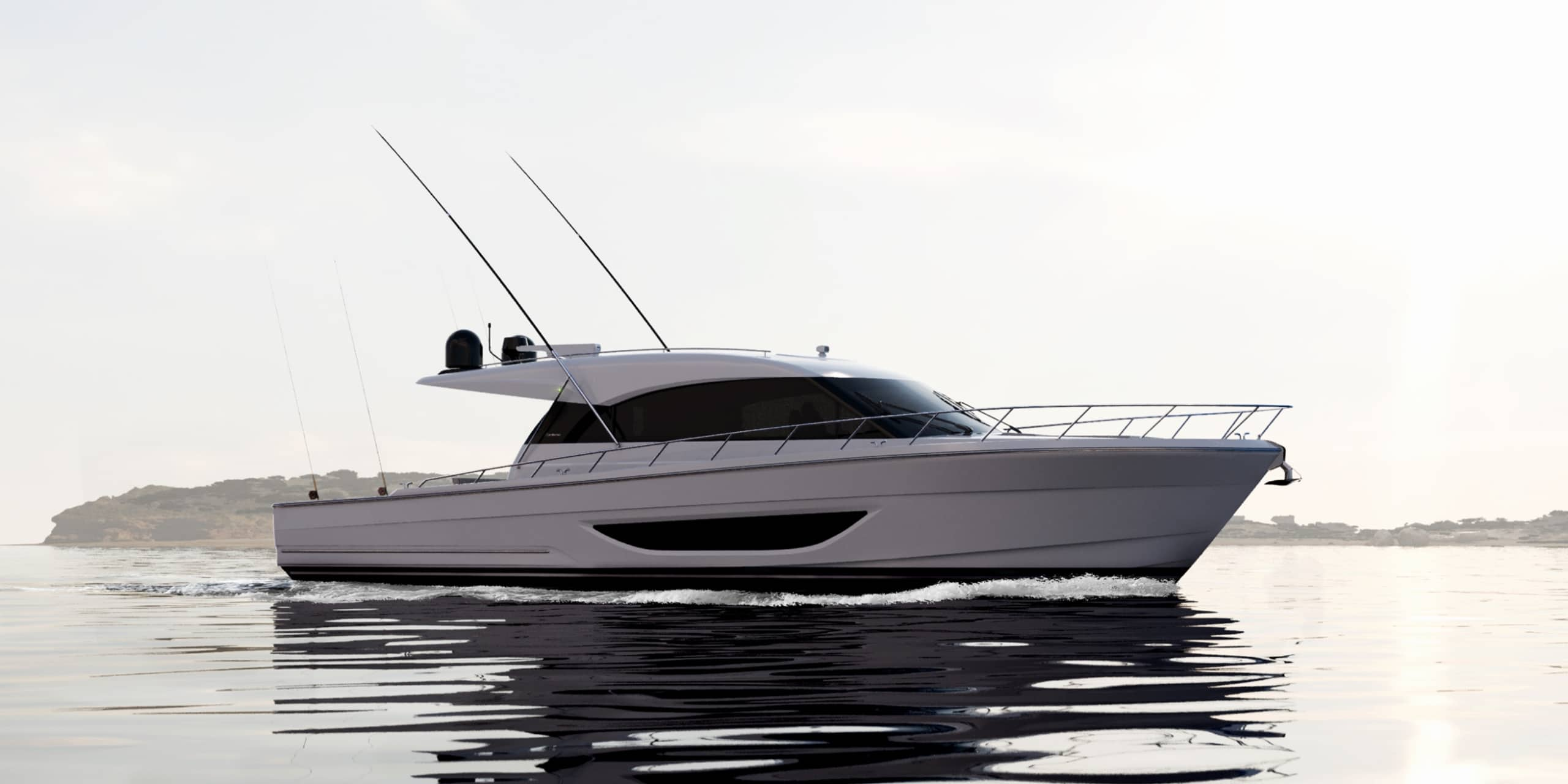 new Maritimo S600 Offshore Sedan Motor Yacht crusing and pictured from the side