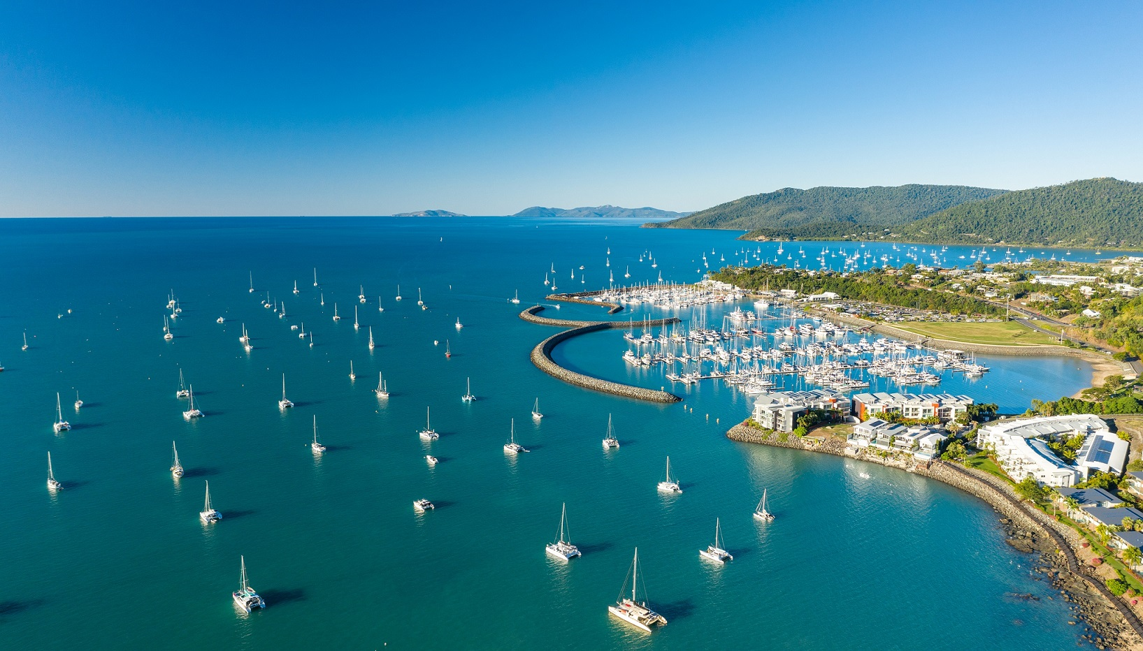 aerial shot of Coral Sea Marine resort in the Whitsundays