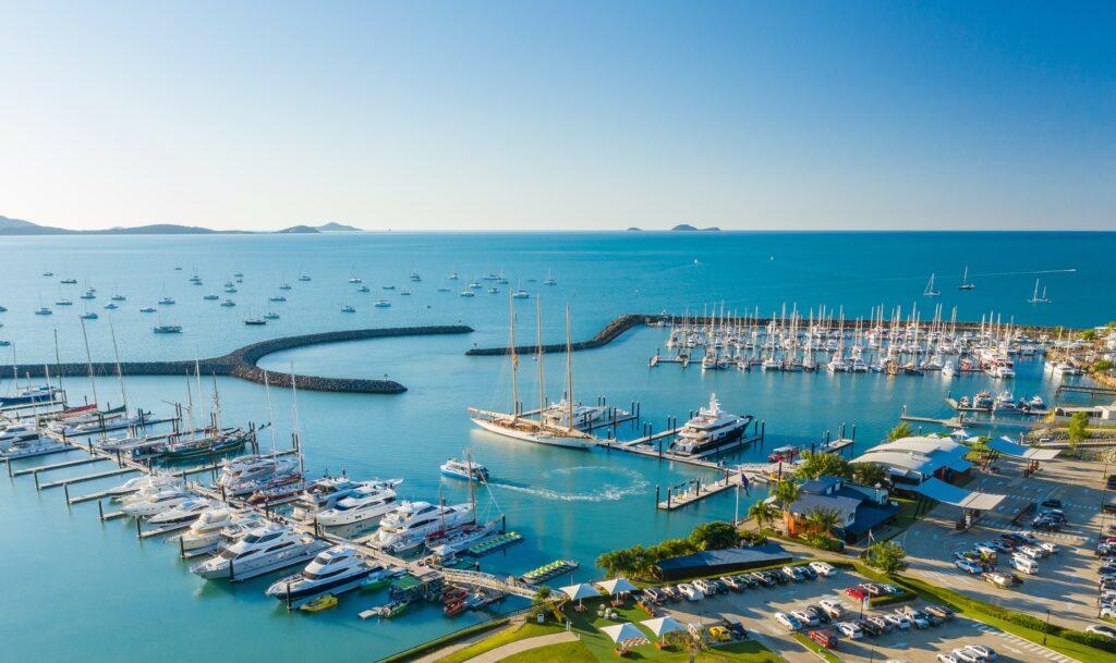 Coral Sea Marina Resort Aerial shot with Superyachts