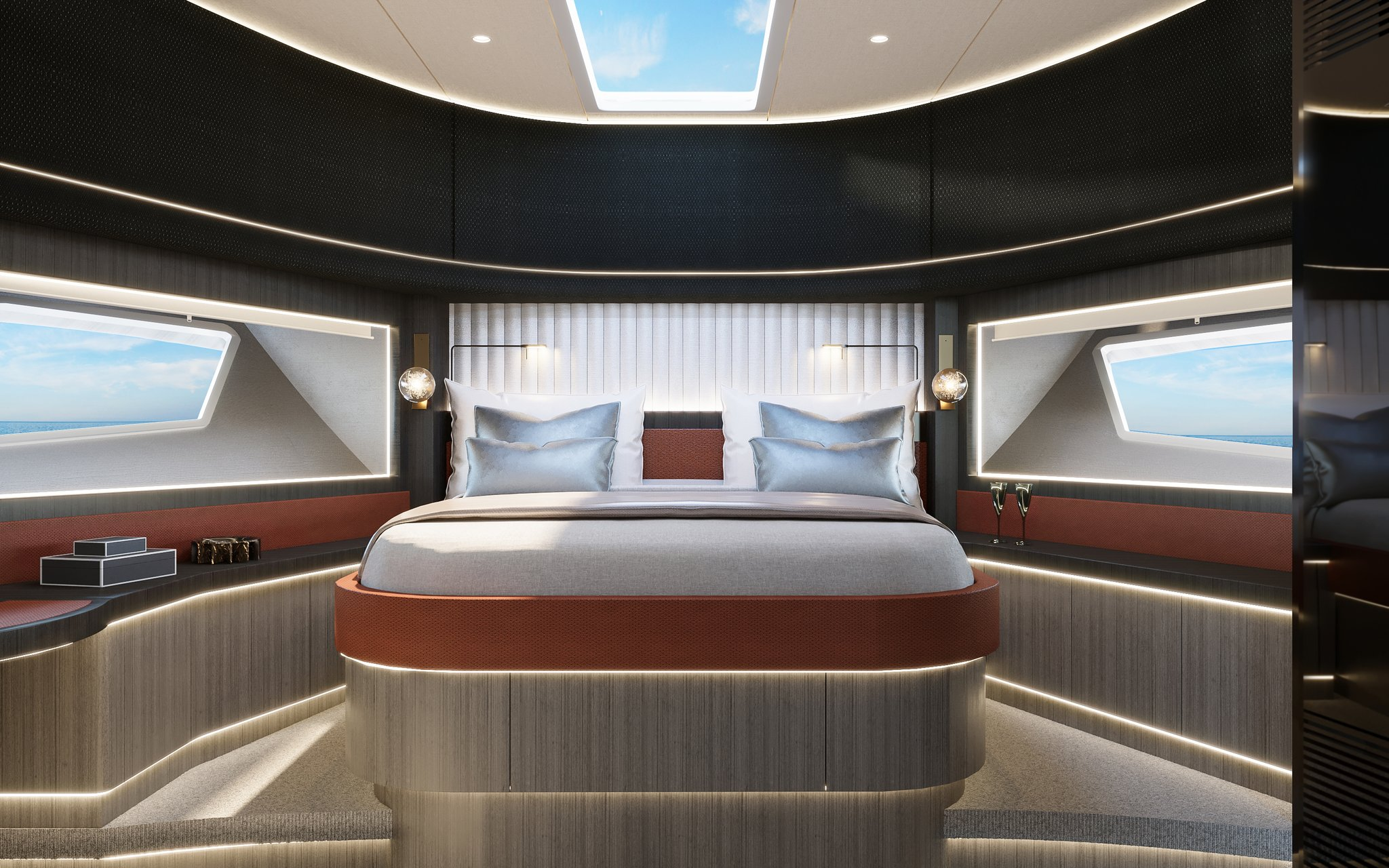 interior shot of the master bedroom onboard the Longreef 90SX
