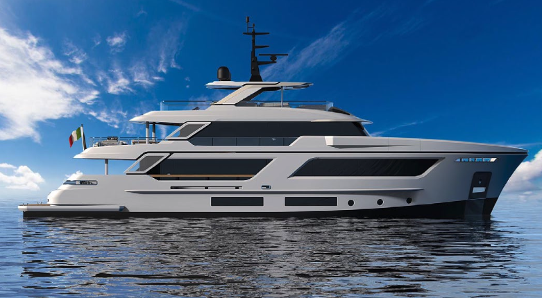 Cantiere Delle Marche RJ115 pictured from the side in open water
