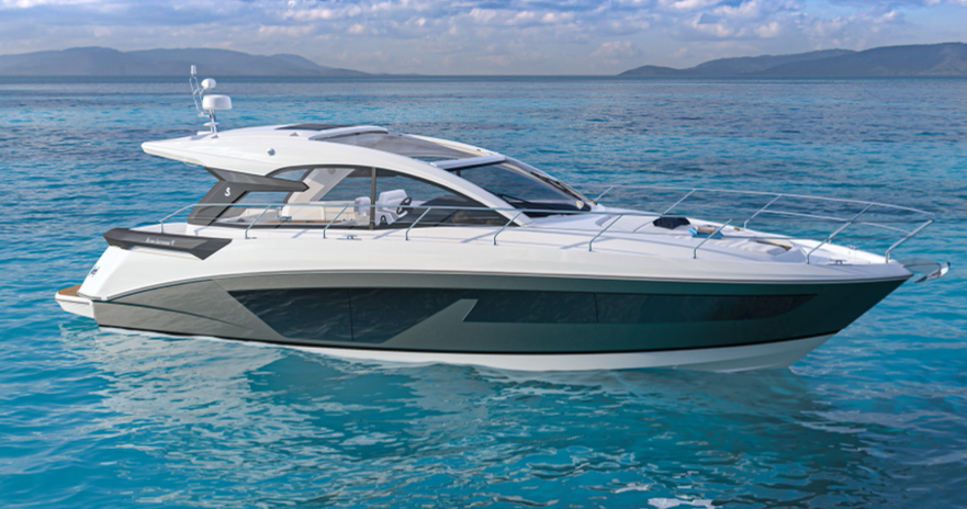 The Beneteau GT45 pictured cruising from a side angle