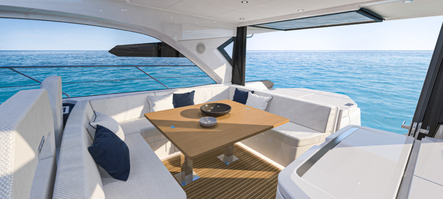 view of the rear living area onboard the Beneteau Gran Turismo 45