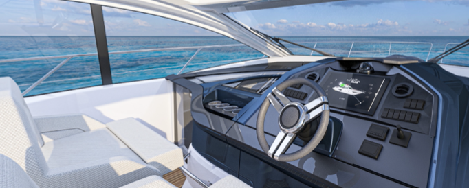 view of the cockpit of the Beneteau Gran Turismo 45