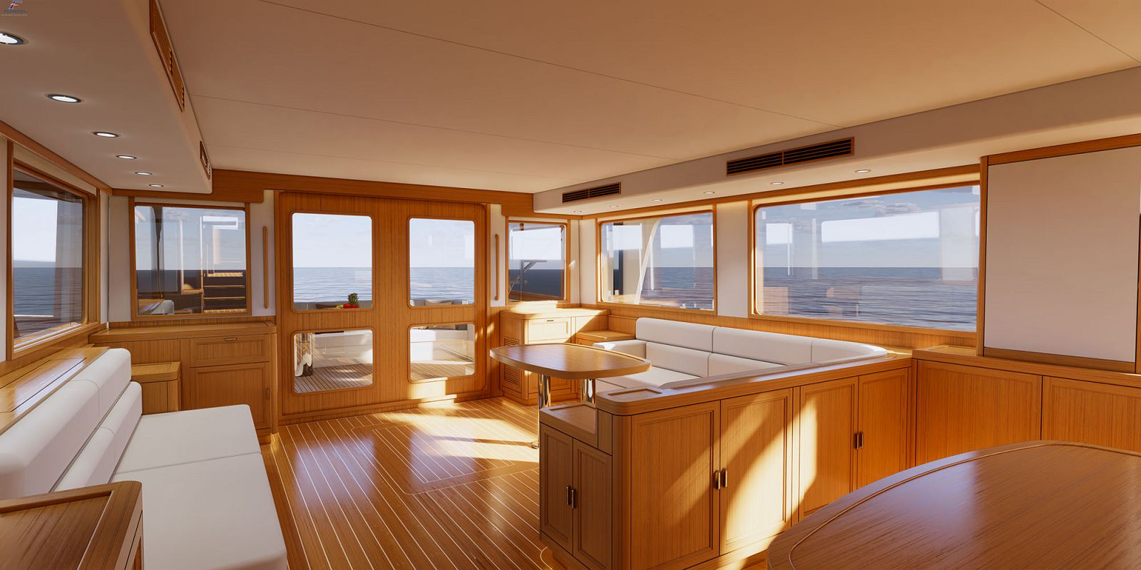 Interior of the Fleming F85 with both the kitchen and living area pictured