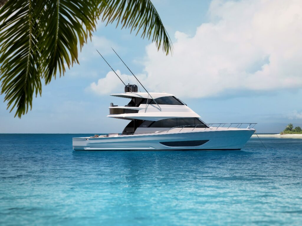 Maritimo M600 anchored and pictured from the side with palm tree in foreground