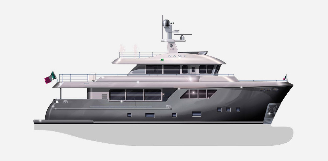 artists drawing of the Cantiere Delle Marche Darwin 86