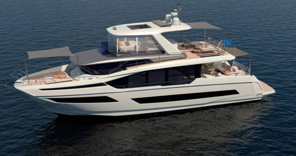 Prestige X70 anchored and pictured from the side with front and rear canopies up