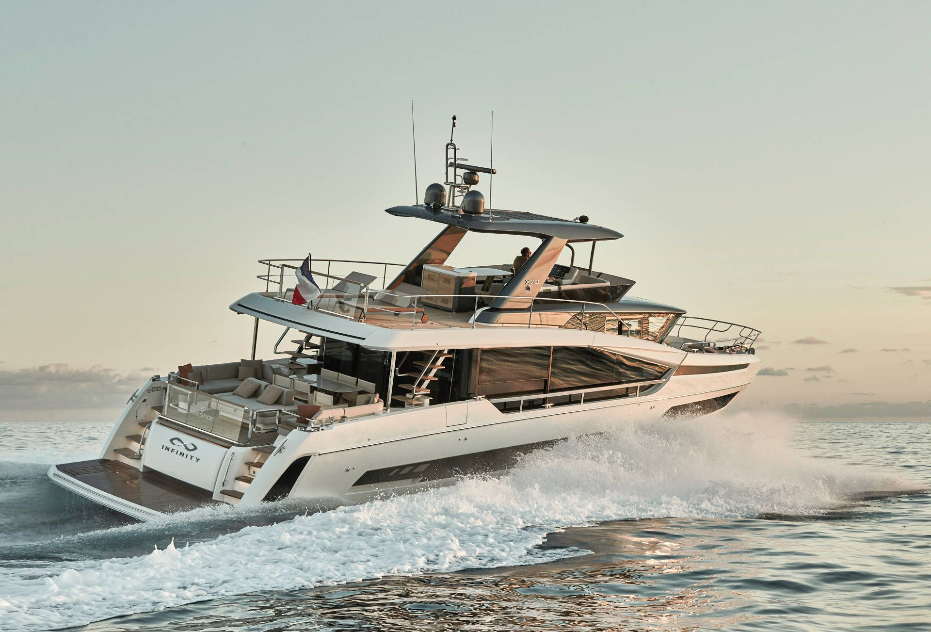 Prestige X70 pictured cruising from the rear