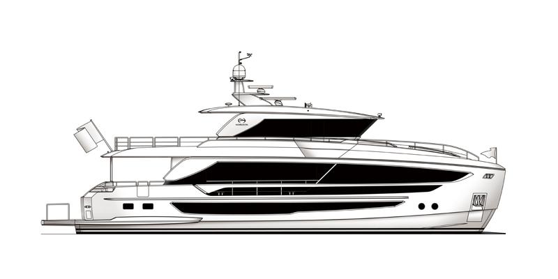 hull drawing of the Horizon FD80