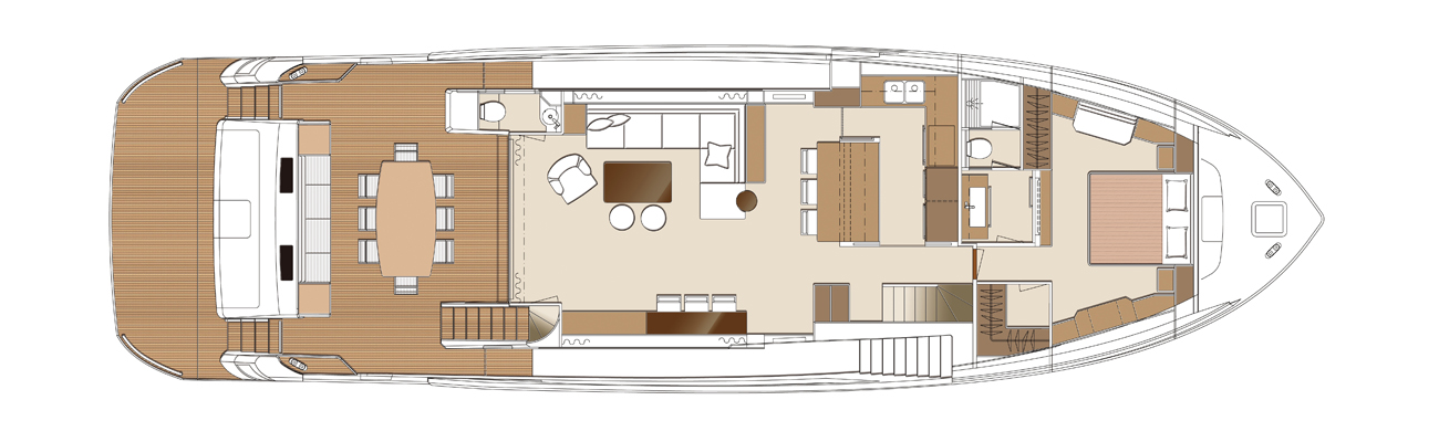 Plan of the main deck onboard the Horizon FD80