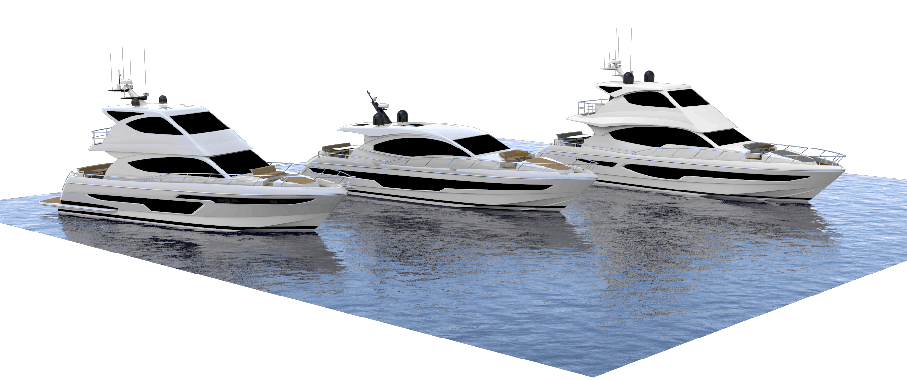 computed renders of newly designed Whitehaven Flybridge 600 and Flybridge 7000 models