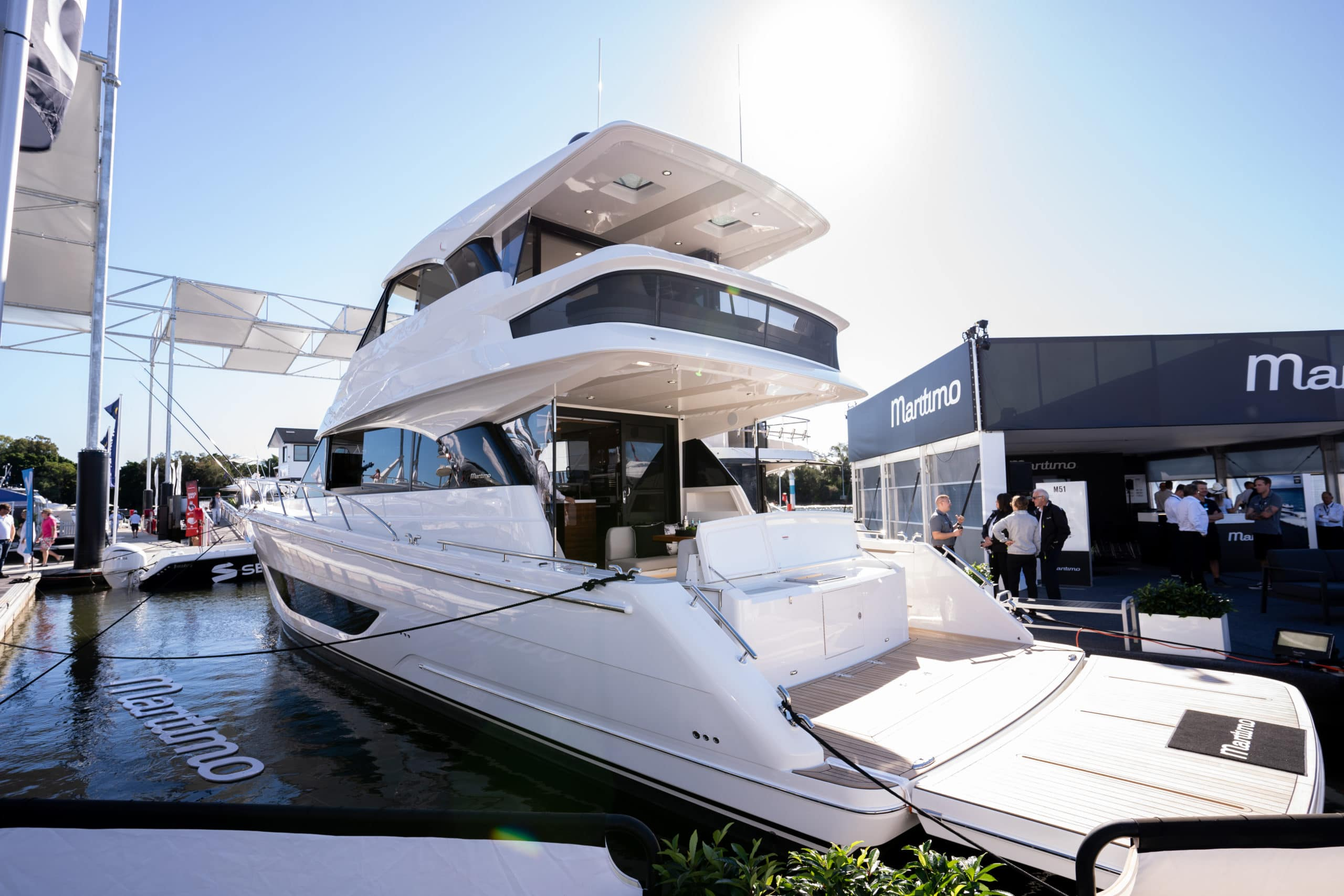 wide angle of new M55 at Maritimo stall at Snactuary Cove International Boat Show