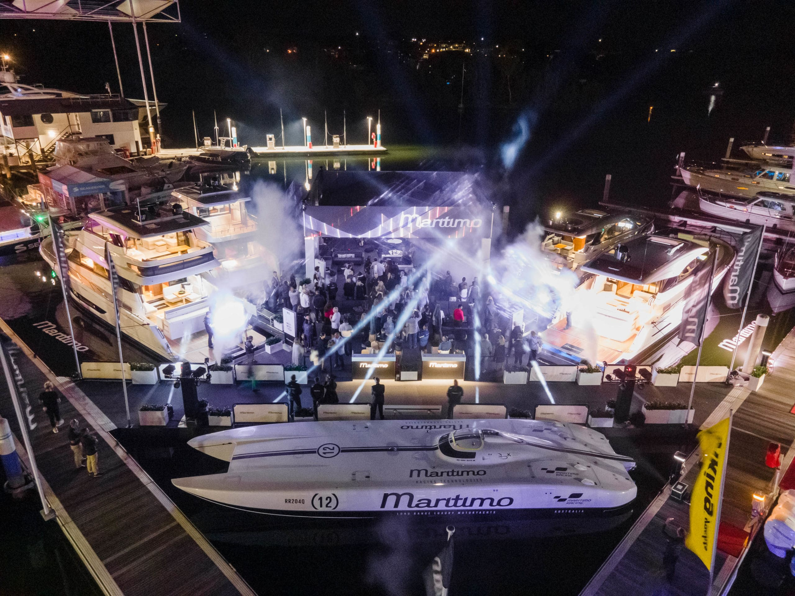 Maritimo stall at Sanctuary Cove International Boat Show pictured from above