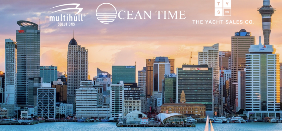 Auckland skyline with logos of Multihull Solutions, Ocean Time and The Yacht Sales Co signalling the partnership of the three companies
