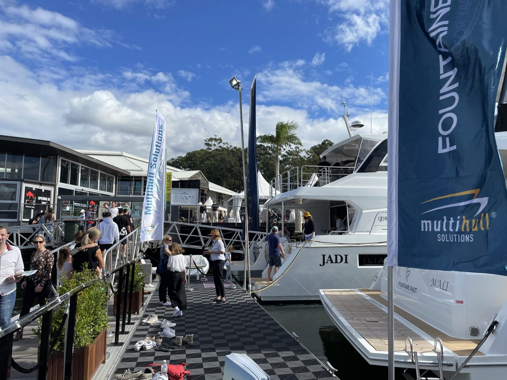 Different angle of the Multihull Solutions stand at the Sanctuary Cove International Boat Show