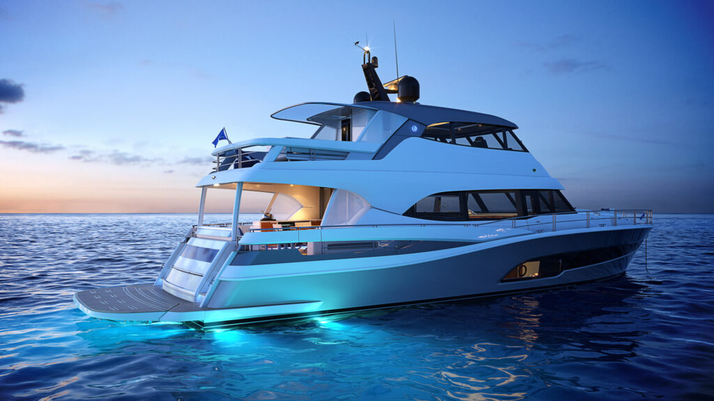 Riviera 78 Motor Yacht with exterior lights on and sunset in background