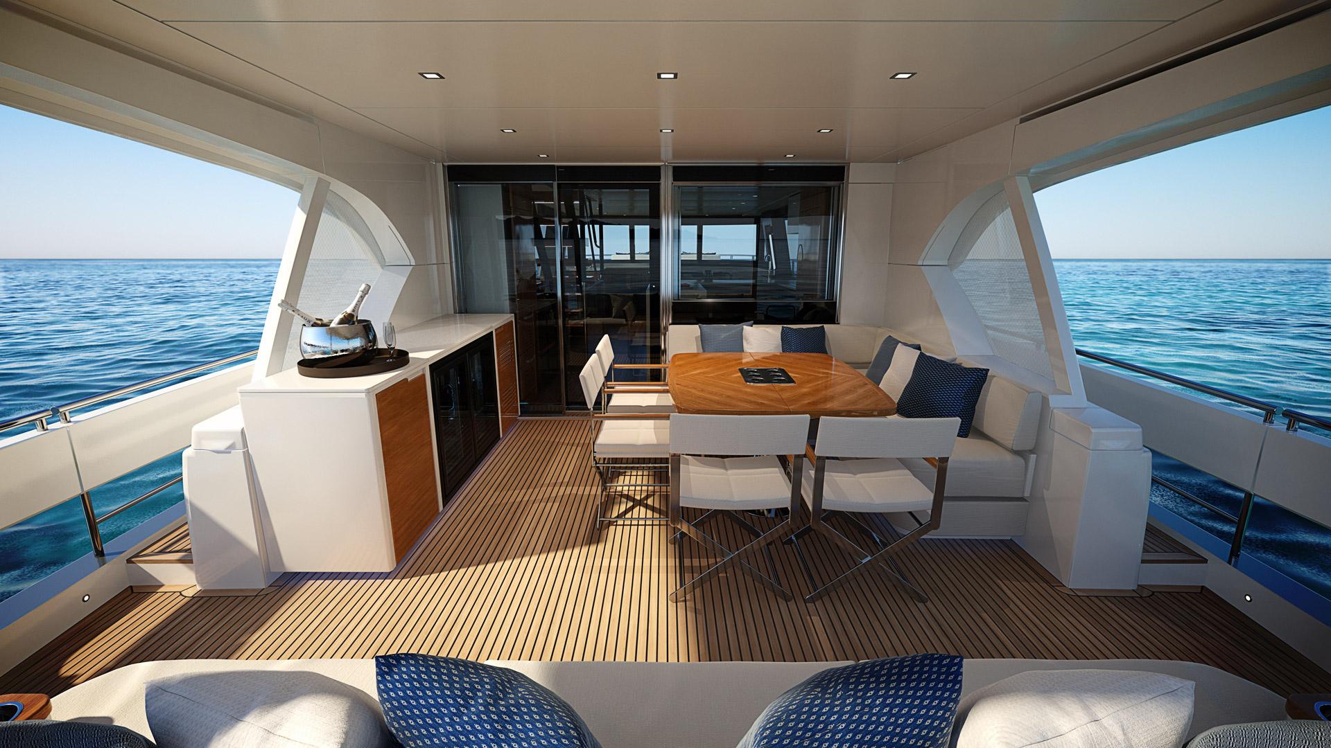 alfresco dining area aboard the Riviera 78 motor yacht