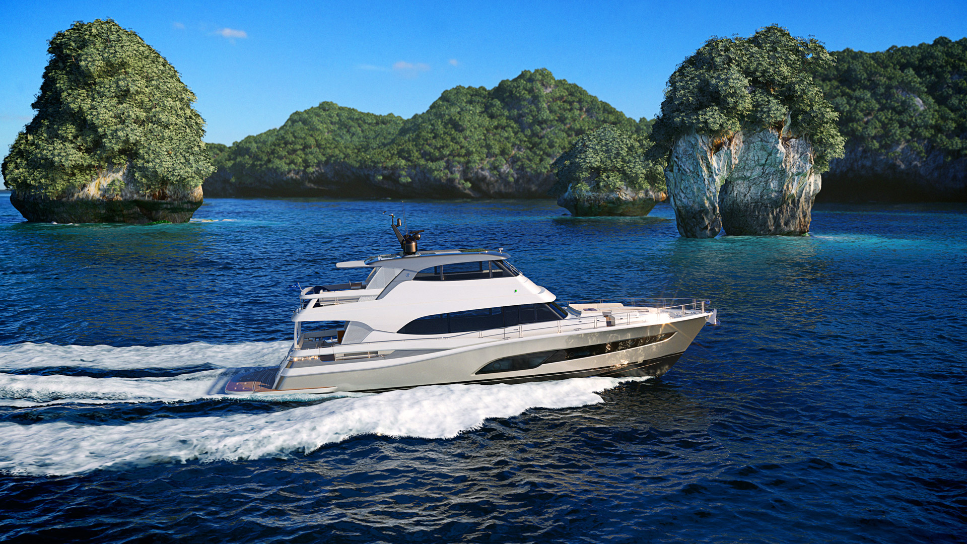 Riviera 78 motor yacht cruising with rock formation in background