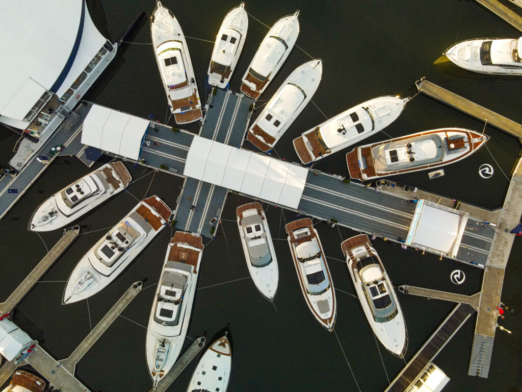 aerial view of the boats Riviera showcased at Sanctuary Cove