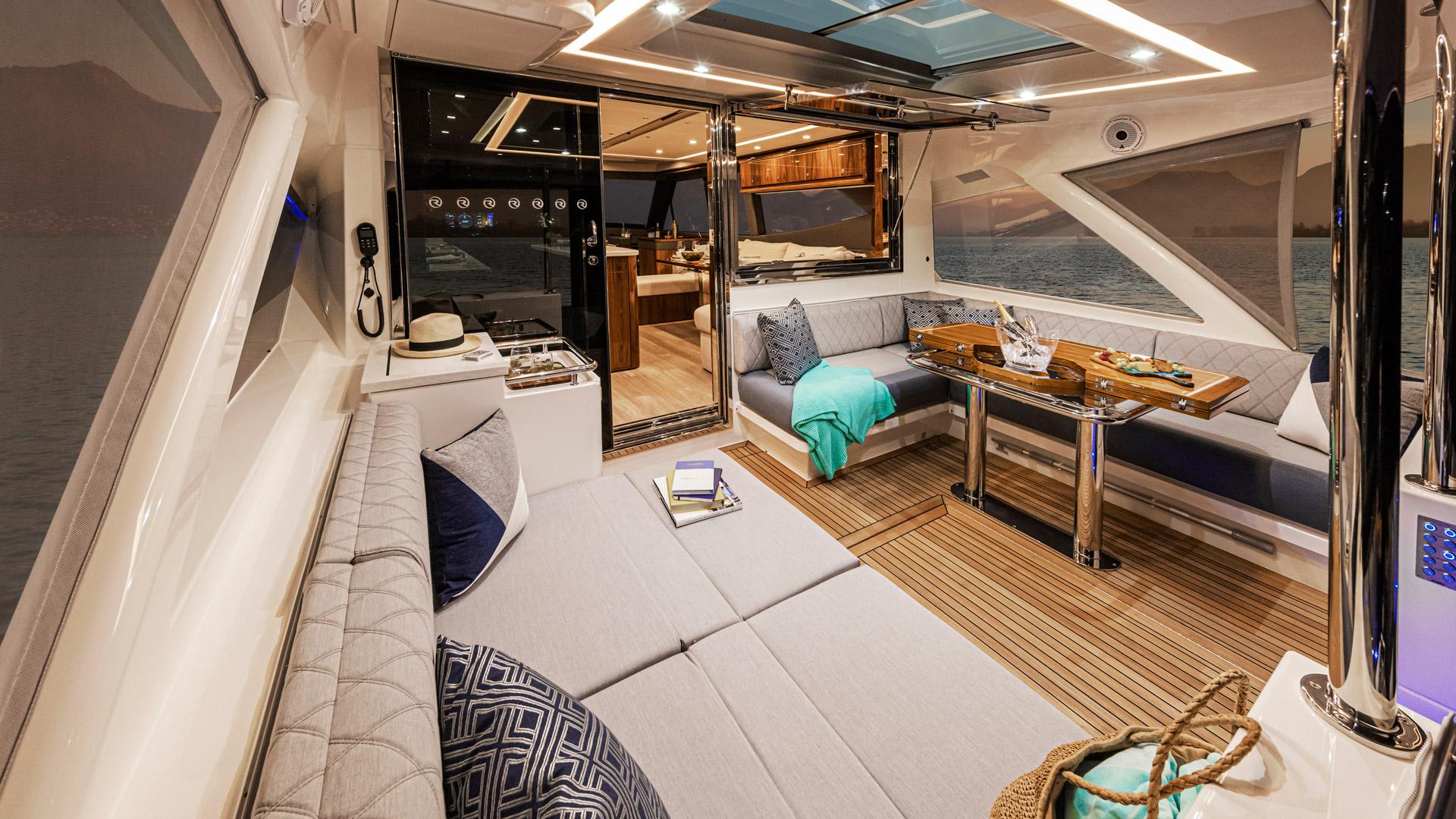 alfresco dining area onboard the Riviera 645 SUV