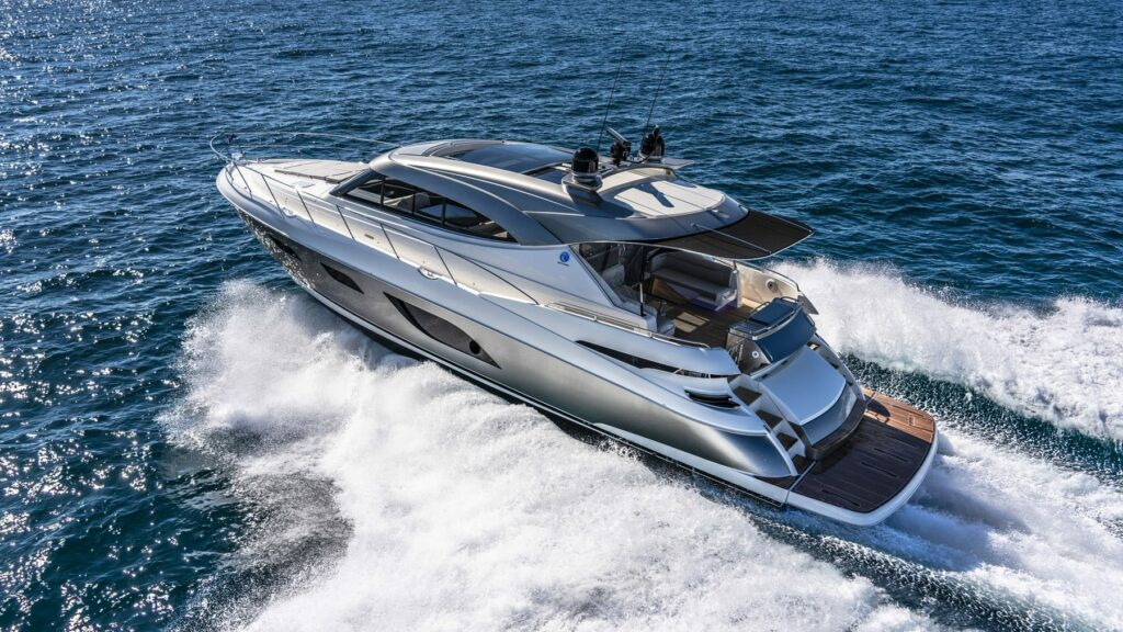 The Riviera 6000 Sports Yacht Platinum Edition pictured cruising from above