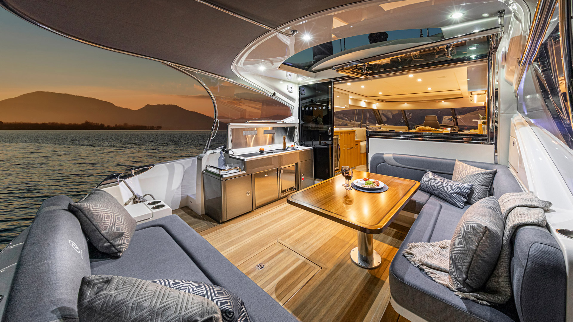 Entertainment area onboard the Riviera 5400 Sports Yacht Platinum Edition