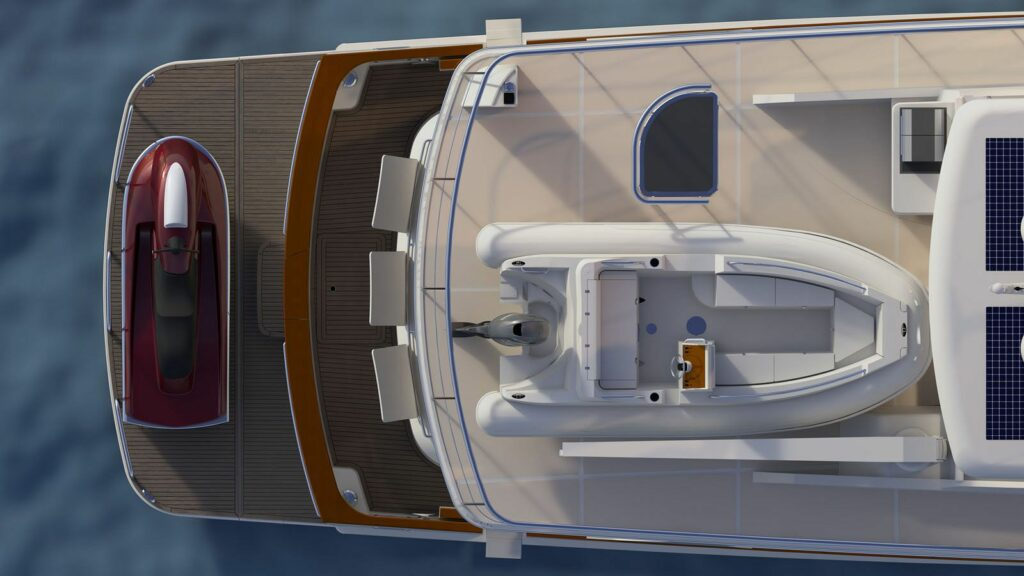 render of the aft deck with jetski and small tender onboard the F85