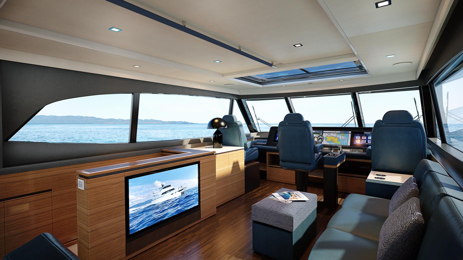 flybridge onboard the Riviera 78 Motor Yacht