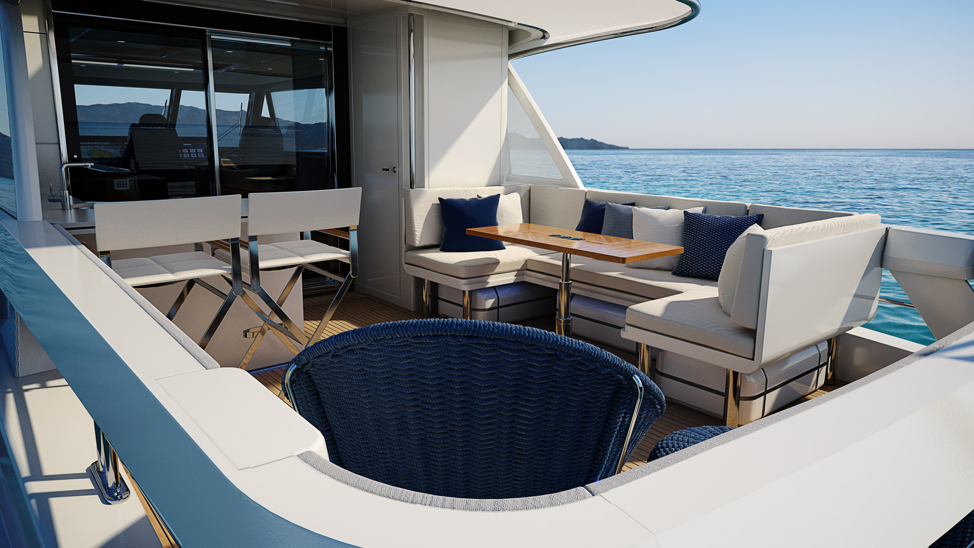 rear living area onboard the Riviera 78