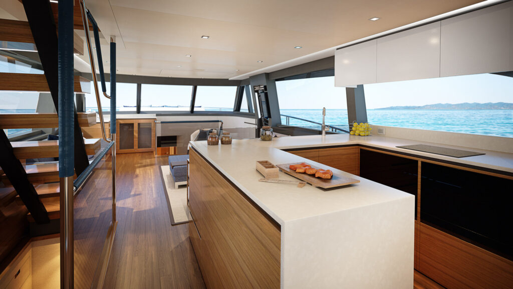 indoor kitchen and living area onboard the Riviera 78