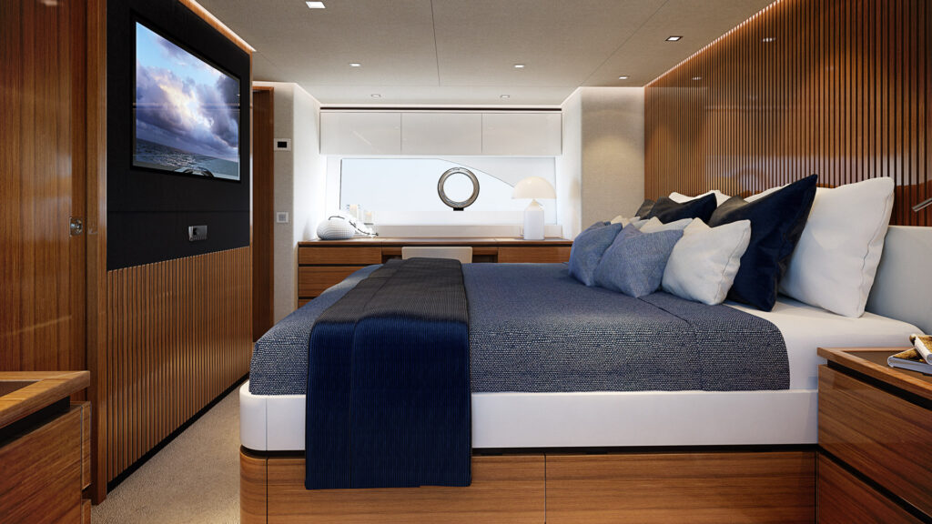 photo of the master suite onboard the Riviera 78