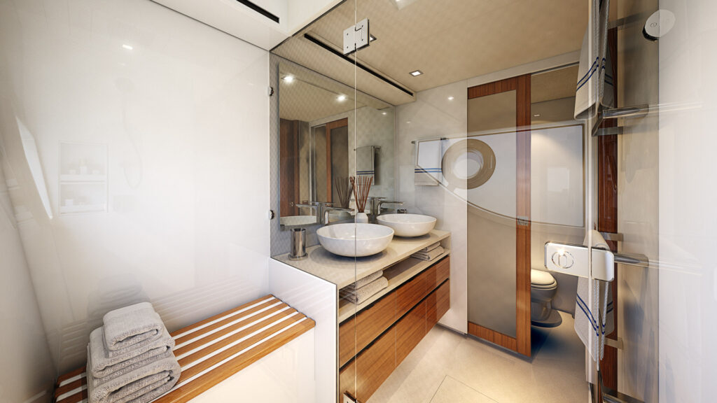master ensuite onboard the Riviera 78