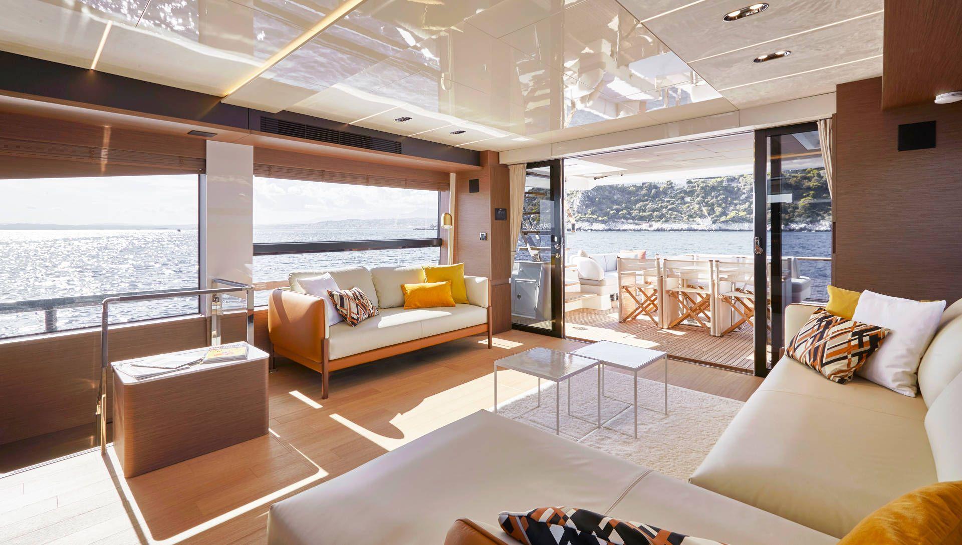 Interior living area onboard Prestige X70