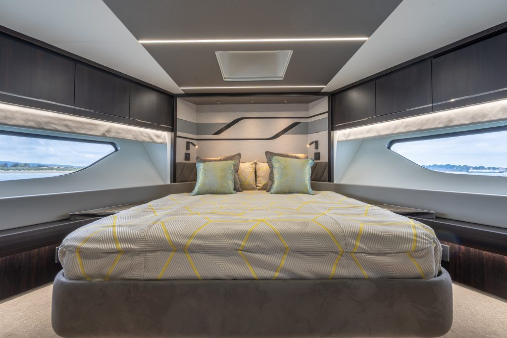 master suite onboard the Sunseeker 74 XPS
