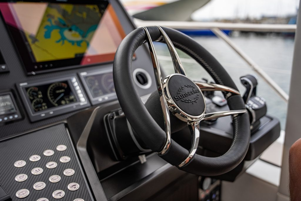close up of steering wheel onboard the Sunseeker 74 XPS