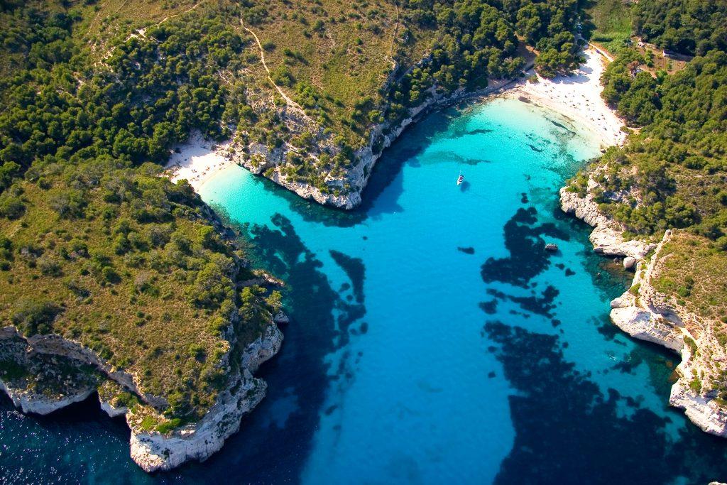 Aerial shot of coastline of Menorca