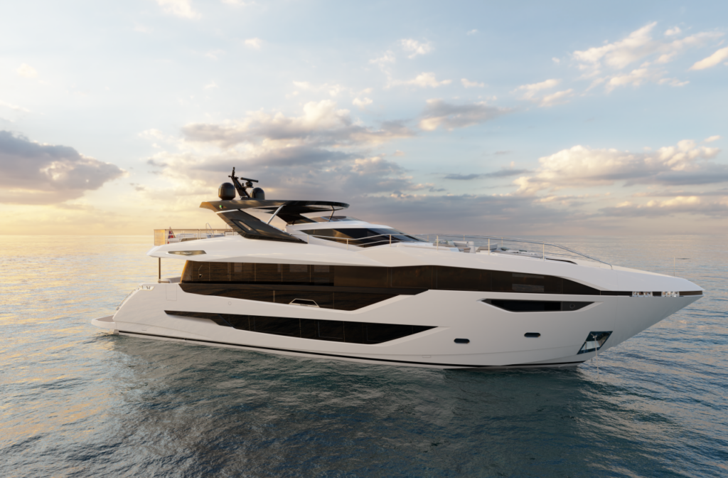 Sunseeker 100 Yacht pictured cruising with sunset in background