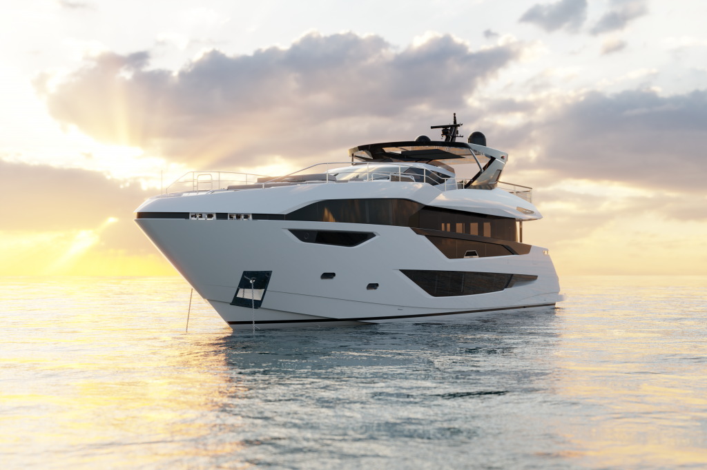 Sunseeker 100 yacht anchored and pictured form the front