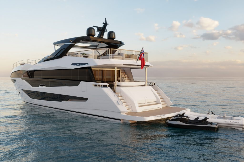 Sunseeker 100 yacht pictured from behind with jetski offloaded