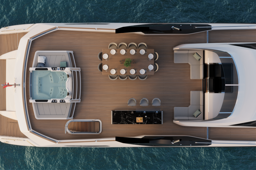 Aerial shot of the Sunseeker 100 yacht