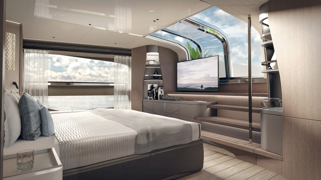 master stateroom onboard the Sunseeker 100 Yacht
