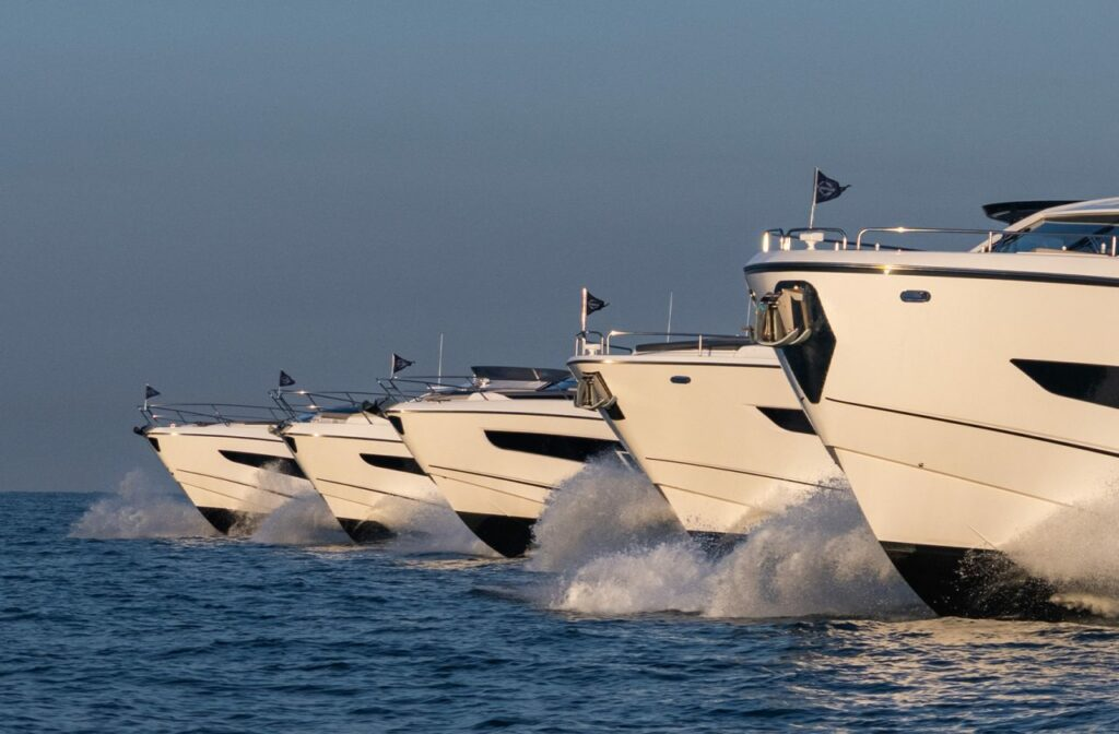 all 5 hulls in the Sunseeker famous five lineup pictured side by side