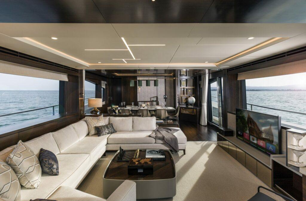 living area onboard the Sunseeker 88