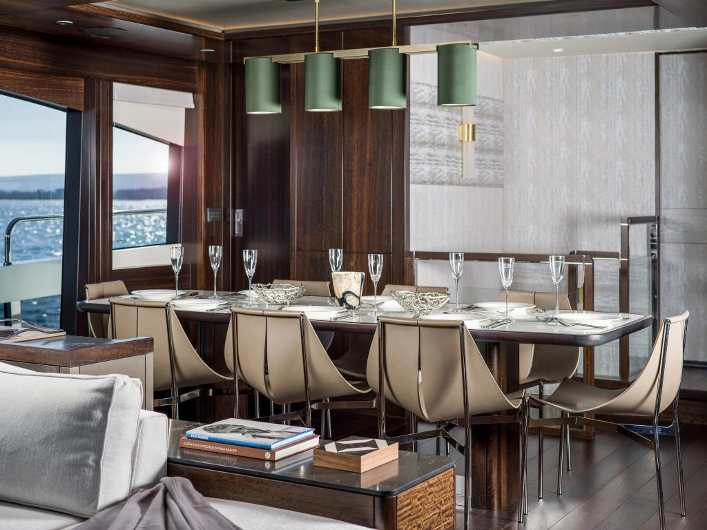 dining area onboarrd the Sunseeker 88 Yacht