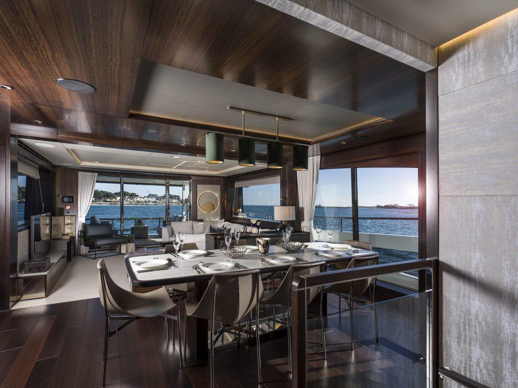 dining area onboard the Sunseeker 88 yacht