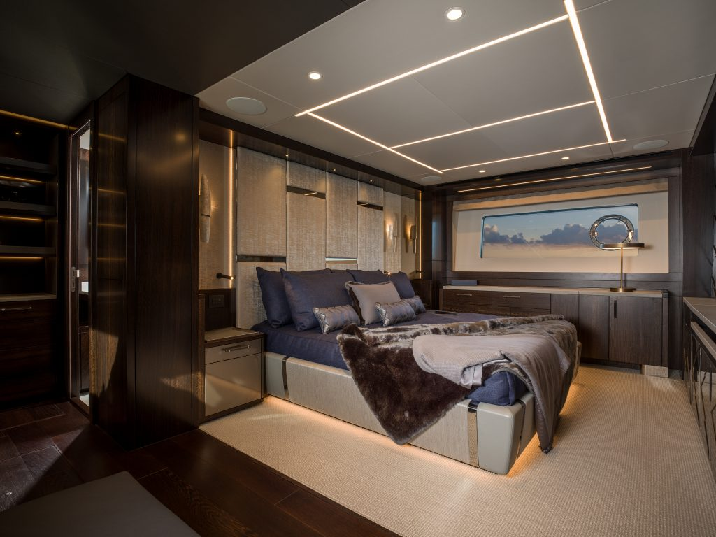 master suite onboard the Sunseeker 88
