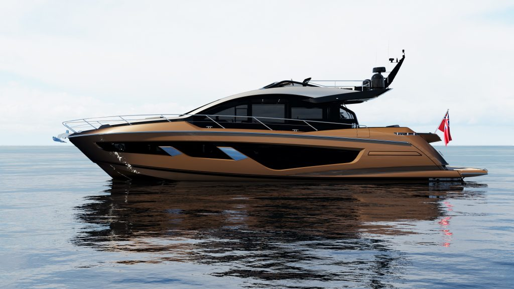 side angle of the Sunseeker 65 Sports Yacht