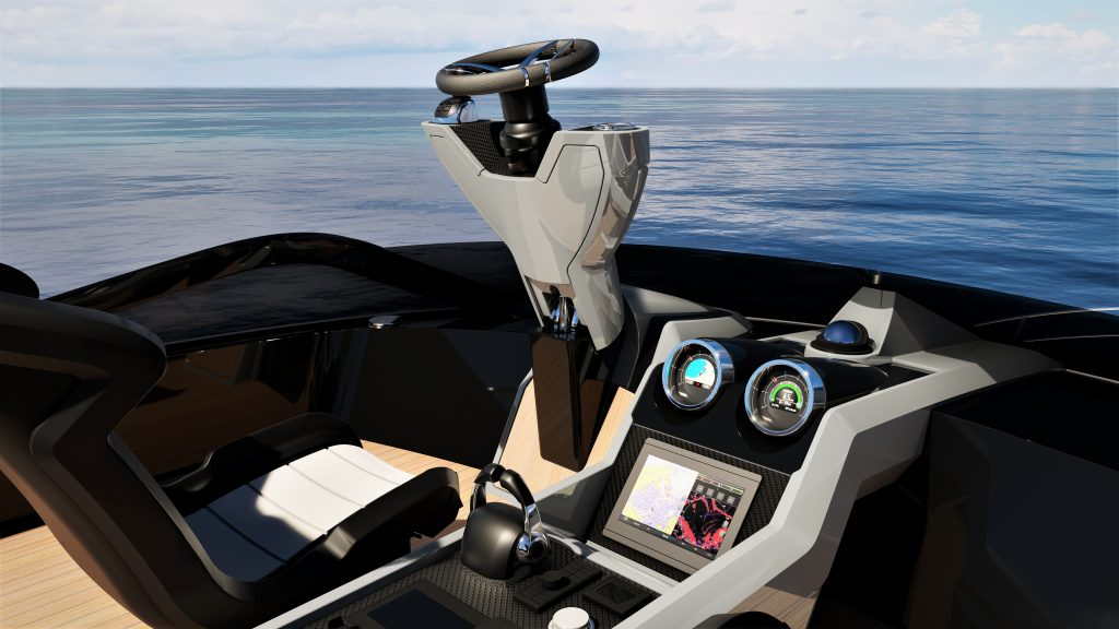 helm of the Sunseeket 65 Sports Yacht